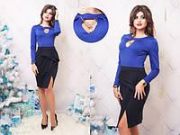 """Облегающее деловое платье по колено """"Taselli"""" с разрезом и драпировкой на юбке (2 цвета)"""
