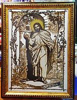 """Ікона вишита бісером """"Ісус"""" в коричнево-золотих тонах"""