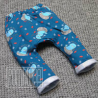 Тёплые штаны р 86 9-12 мес зимние детские штанишки для новорожденных малышей мальчика ФУТЕР 6000 Синий