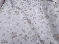 """Льняная скатертная ткань """"Новогодняя сказка"""" (шир. 160 см)"""