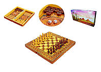 Шахматы, шашки, нарды 3 в 1 с лакированной доской 40 см Армения