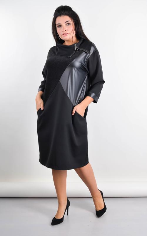 Женское черное платье больших размеров 50-64
