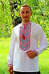"""Мужская вышиванка """"Николай"""" (красная вышивка), 37, фото 2"""