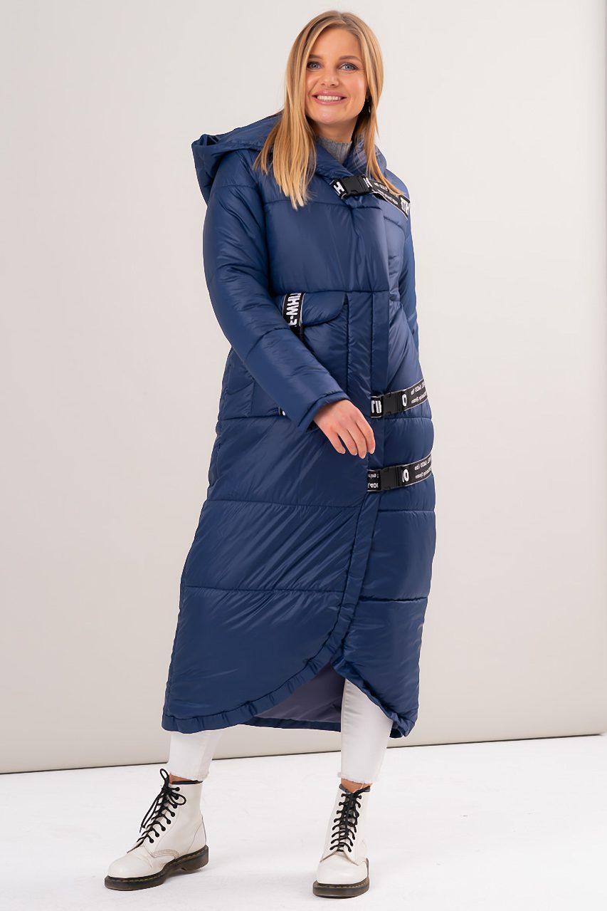Женская длинная дутая куртка с асимметричным краем. Модель 23525.