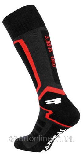 Высокие лыжные зимние термоноски Radical Pro Series, чёрные с красным