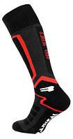 Высокие лыжные зимние термоноски Radical Pro Series, чёрные с красным, фото 1