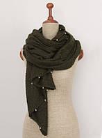 Зеленый теплый шарф с металлическими бусинами