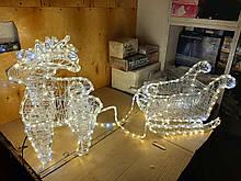 """Новогодняя скульптура """"Олени с санями"""" Длина набора 155 см 3 цвета"""