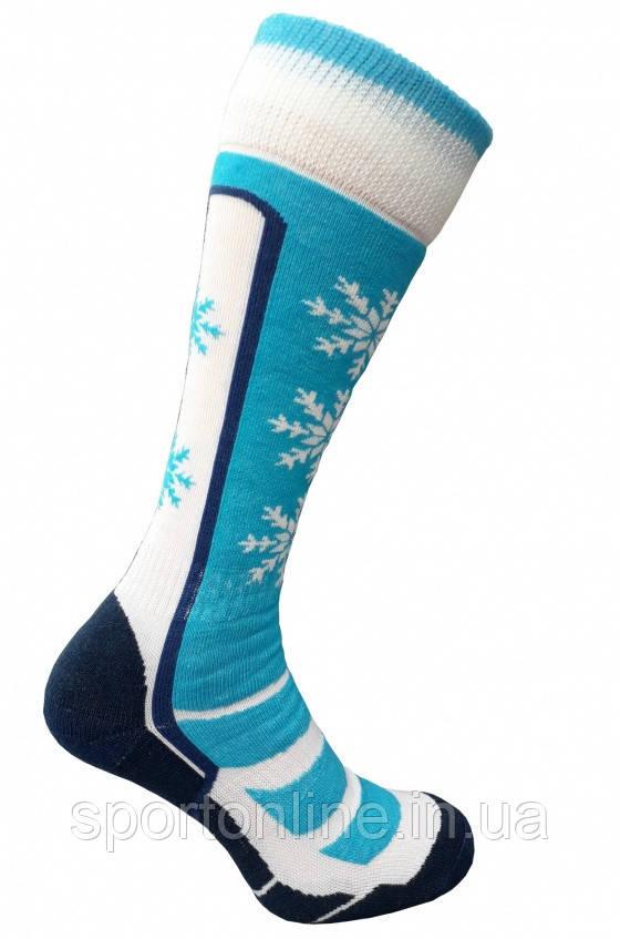 Термо носки горнолыжные, сноубордические FILMAR FACTORY SKI WOMAN, голубые, белые вставки, шерсть мериноса, PRO