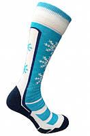 Термо носки горнолыжные, сноубордические FILMAR FACTORY SKI WOMAN, голубые, белые вставки, шерсть мериноса, PRO, фото 1