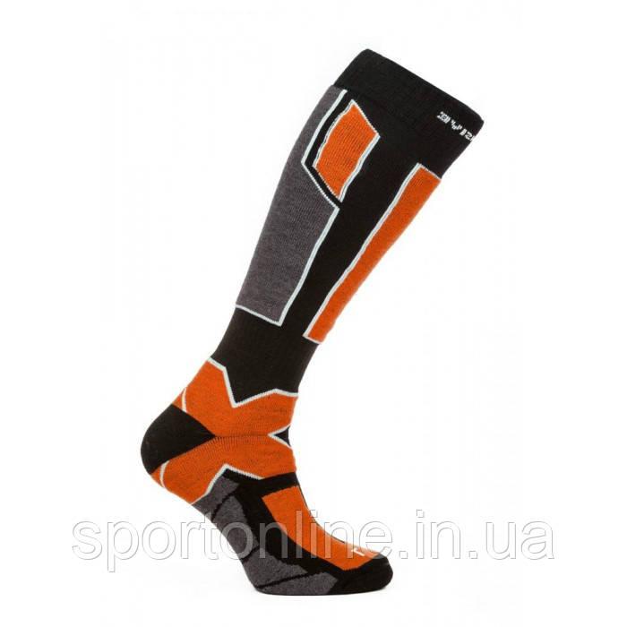 Термо носки горнолыжные, сноубордические Filmar Factory SKI PROFESSIONAL, чёрные, оранжевые вставки, PRO, шерсть мериноса