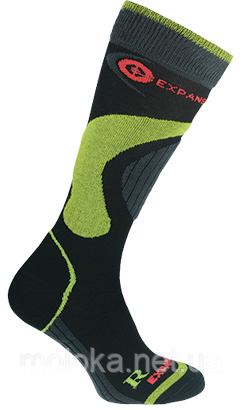 Термо носки горнолыжные, сноубордические FILMAR FACTORY SKI SILTEX, чёрные, зелёные вставки