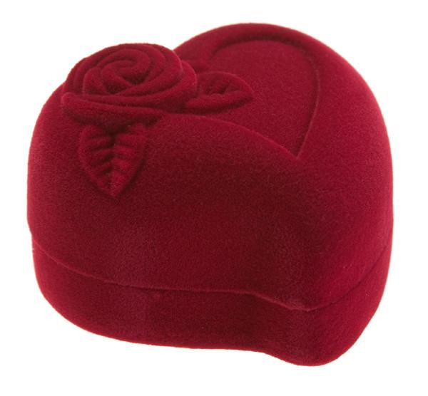 """Футляр для кольца """"Сердце с розой"""" бордо"""