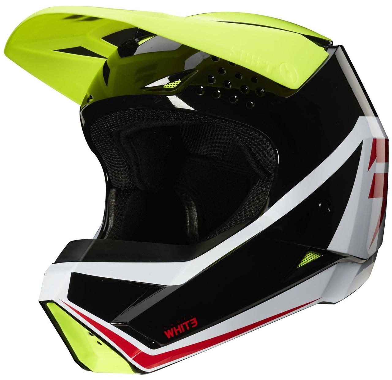 Детский мотошлем SHIFT Youth WHIT3 Label Helmet черный/белый/желтый, YM