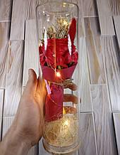 РОЗА в стеклянной колбе +Подсветка (ночник) Красная - 26 см (живые фото!)