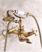 Смеситель для ванны с лейкой бронза 0147