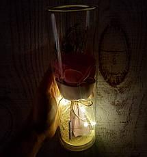 РОЗА в стеклянной колбе +Подсветка (ночник) Розовая - 26 см (живые фото!), фото 3