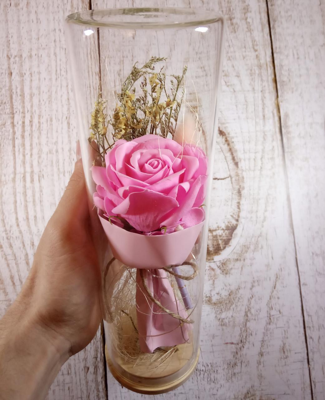 РОЗА в стеклянной колбе +Подсветка (ночник) Розовая - 26 см (живые фото!)