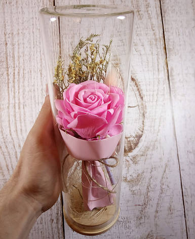 РОЗА в стеклянной колбе +Подсветка (ночник) Розовая - 26 см (живые фото!), фото 2