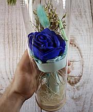 Роза в колбе с Led подсветкой синяя, ночник, романтический подарок (Реальные фото!)