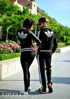 Стильный черный спортивный костюм Adidas с белыми полосками
