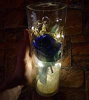 Подарок девушке! РОЗА в стеклянной колбе +Подсветка (ночник) Синяя (настоящие фото!)