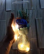 Подарок девушке! РОЗА в стеклянной колбе +Подсветка (ночник) Синяя (настоящие фото!), фото 3