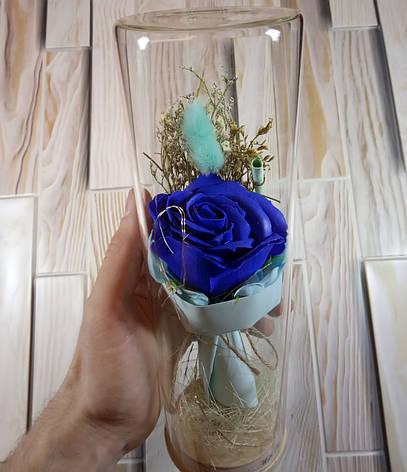 Подарок девушке! РОЗА в стеклянной колбе +Подсветка (ночник) Синяя (настоящие фото!), фото 2