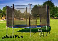 Батут 374 см Just Fun Multicolor для детей и взрослых с внешней сеткой и лестницей (для дорослих та дітей)