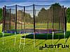 Батут 490 см Just Fun Multicolor для дітей і дорослих з зовнішньої сіткою і драбиною