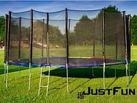 Батут 490 см Just Fun Multicolor для дітей і дорослих з зовнішньої сіткою і драбиною, фото 1
