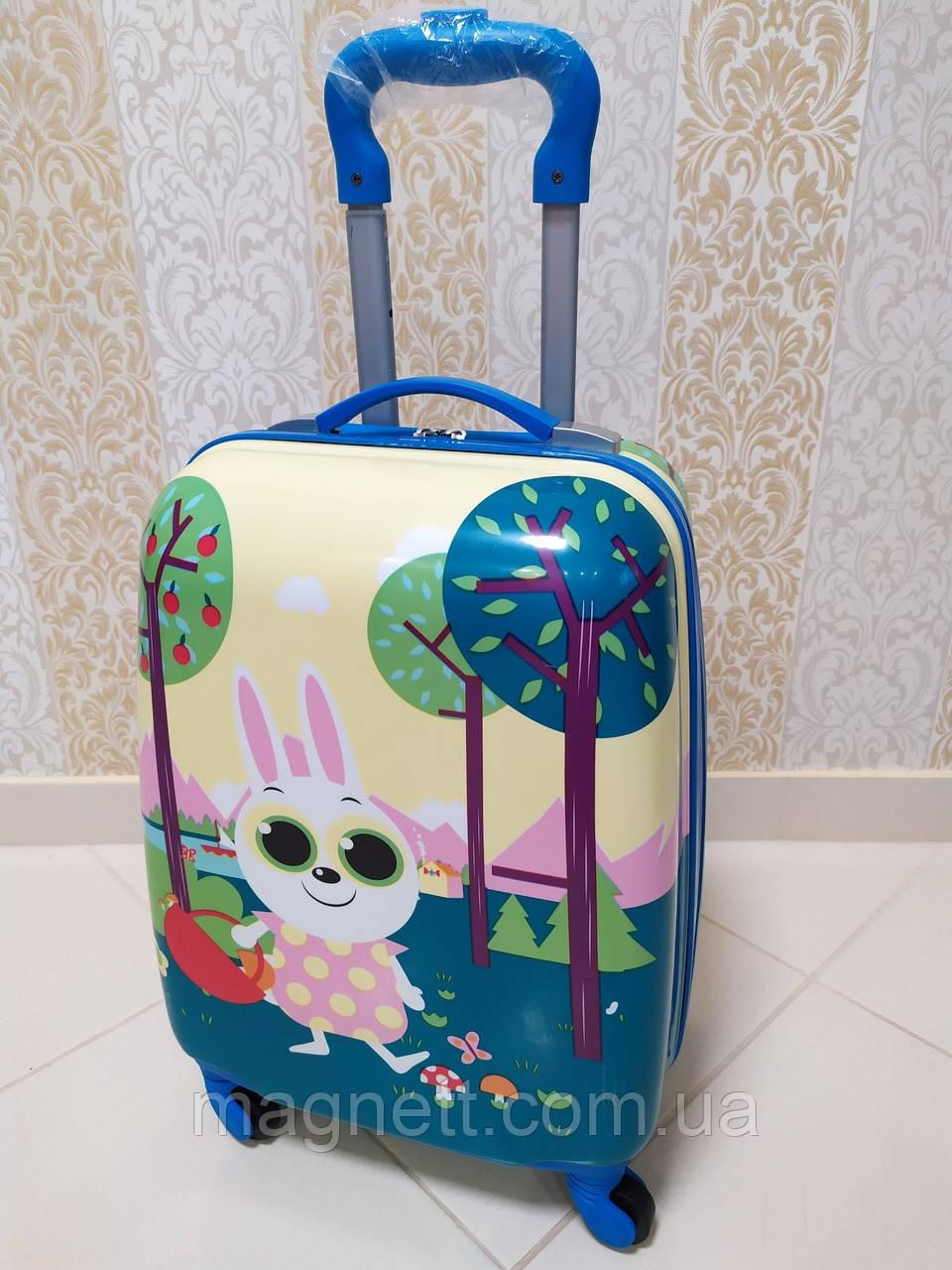 """Дитячий синій валізу на 4 колесах """"Кролик"""" 45*31*21"""