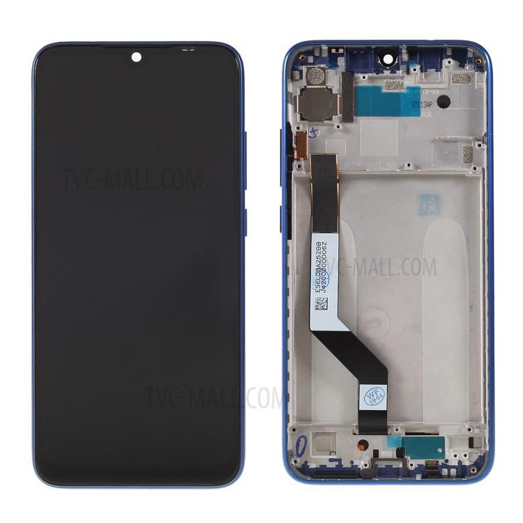 Дисплей Xiaomi Redmi Note 7 с тачскриноми и синей рамкой черный Оригинал