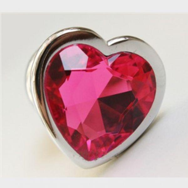 Анальная пробка сердечко, с красным камушком, размер М
