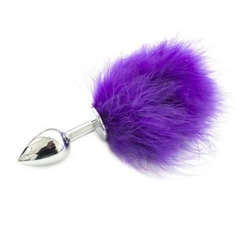 Пробка металлическая с фиолетовым хвостиком, фото 2