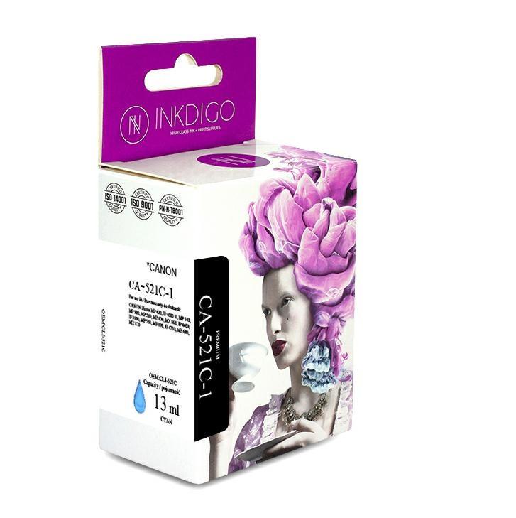Совместимый картридж Inkdigo™ Canon CLI-521С Cyan (2934B004) чернильный, голубой, 13ml (CA-521С-1)