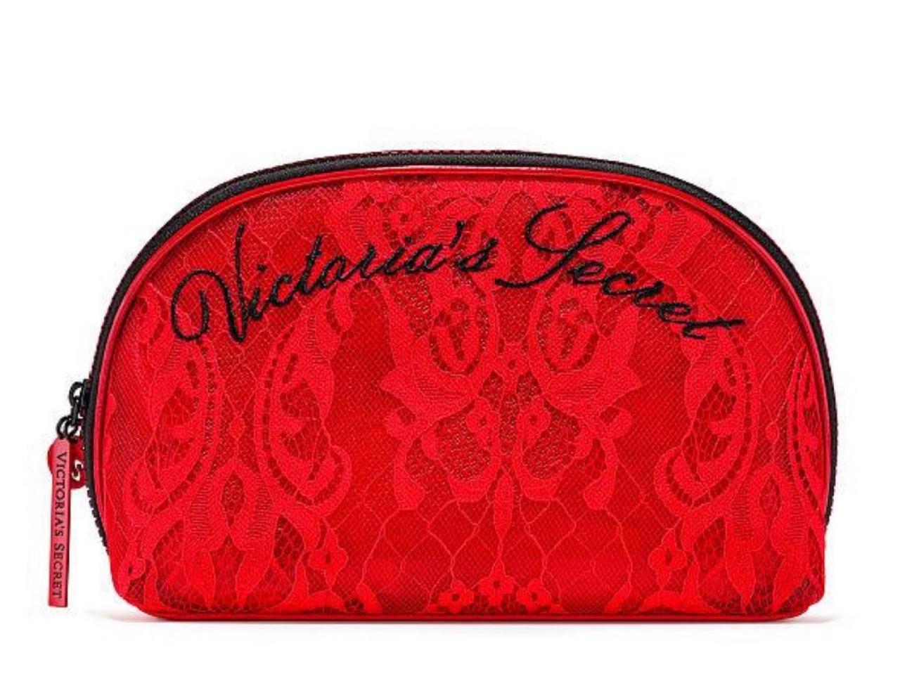 Victoria's Secret Косметичка Bold Floral Beauty Bag, Красная с цветами