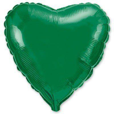"""Фольгированный шар ФМ 9"""" сердце металлик зеленое"""
