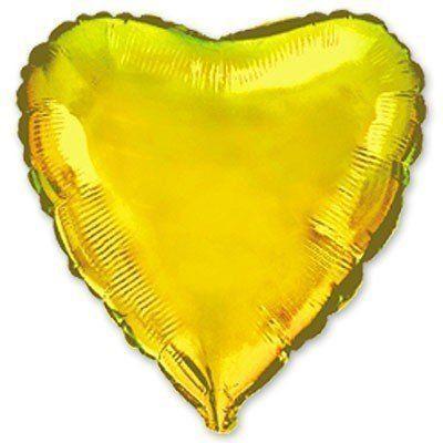 """Фольгированный шар ФМ 9"""" сердце металлик золотое"""