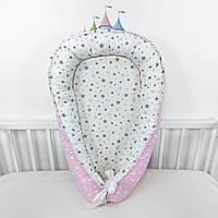Кокон-позиционер для сна новорожденных в бело-розовых тонах