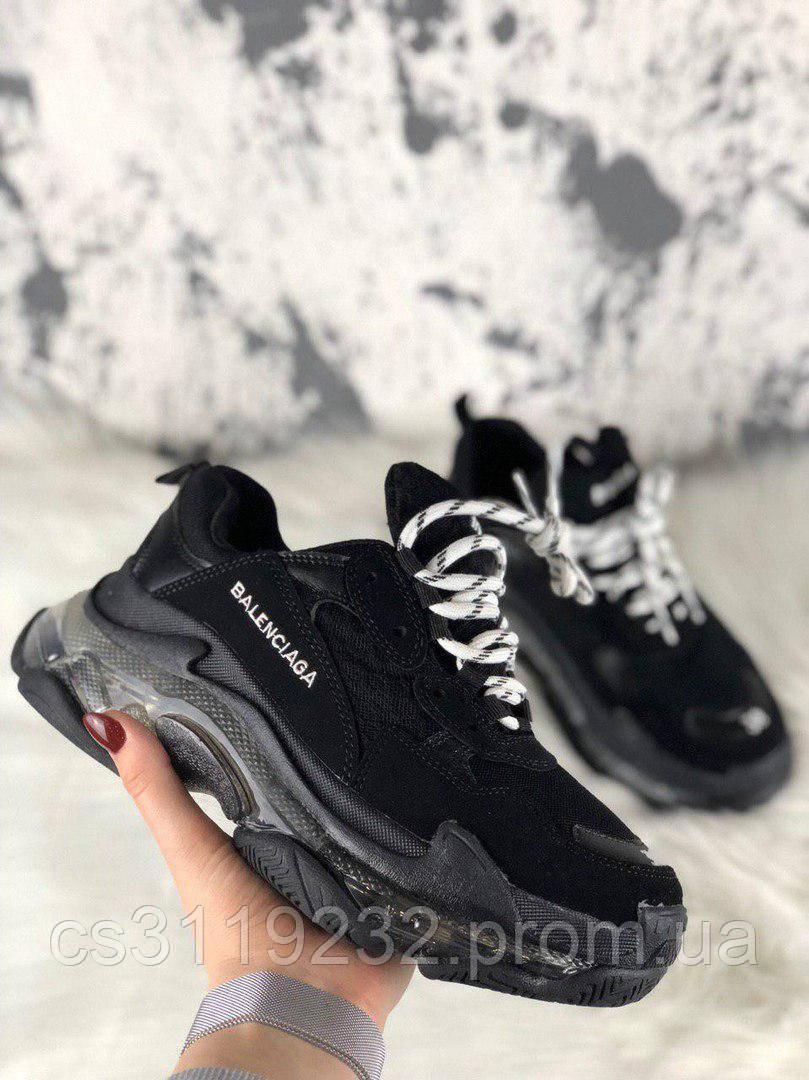 Женские кроссовки Balenciaga Triple S Clear Sole Black (черный)