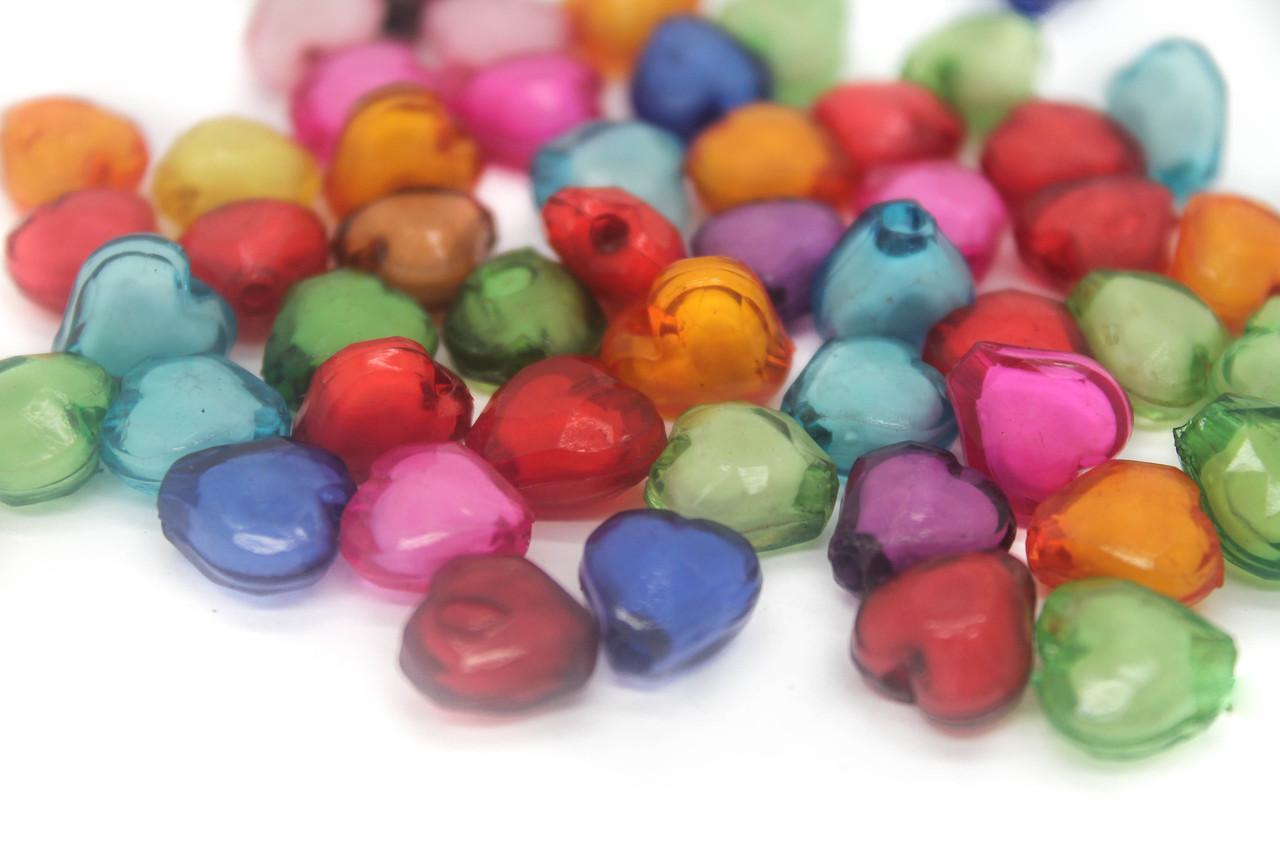 Різнокольорові намистини, Серце, Розмір 10х10 мм В упаковці приблизно 50шт