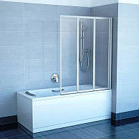 Штора для ванны сложная Ravak VS3 Transparent трёхэлементная 996, Сатин (матовый)