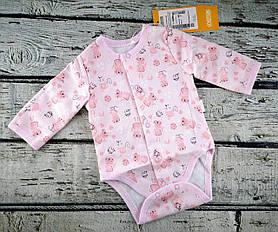 Боди Для малышей Котики рост 80 см, розовый, байка Бэмби Украина