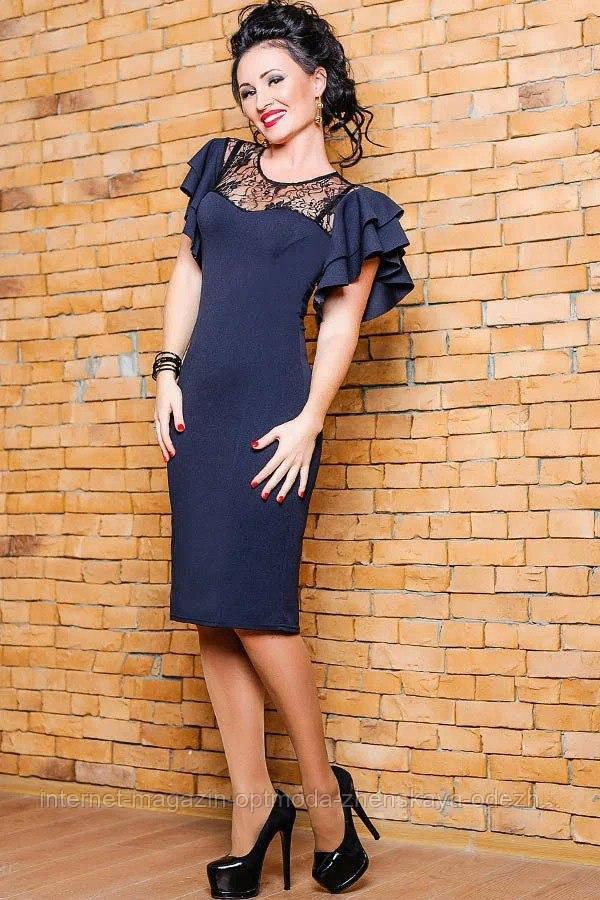 Женское батальное платье с объемными рукавами , размеры:50,52, 54, 56, цвета - темно-синиий, бордовый, бутылка