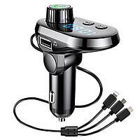 FM трансмітер MOD. CAR Q15 BT + кабель 3 в 1 (micro USB, Iphone, Type C)