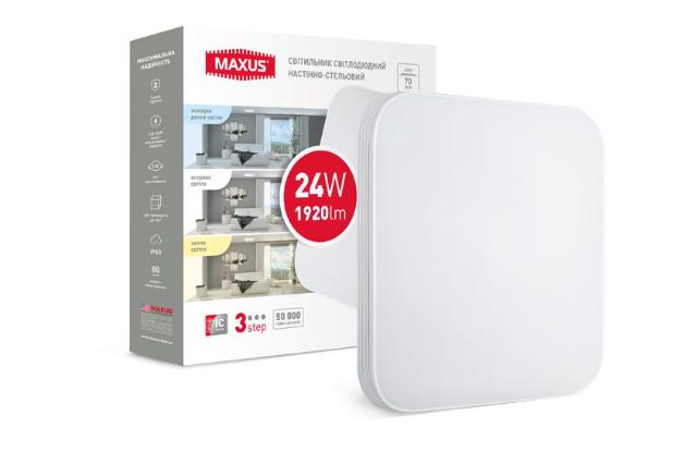 Розумний накладний світильник MAXUS 3-step 24W 3000-6500K квадрат