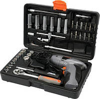 Стальной набор инструментов (набор ключей) STHOR (Vorel) 58645 на 44 предмета с аккумуляторной отверткой