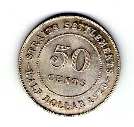 Британский Стрейтс-Сетлментс 50 центов 1920 серебро Георг V