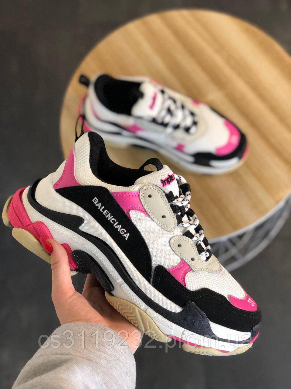 Жіночі кросівки Balenciaga Triple S White Black Pink (біло-чорно-рожевий)